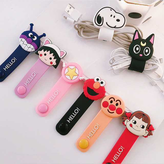 1Pcs Cute Cable Organizer Bobbin Winder Cable Protector Wire Cord Management Marker Holder Cover For Earphone USB Free Shipping