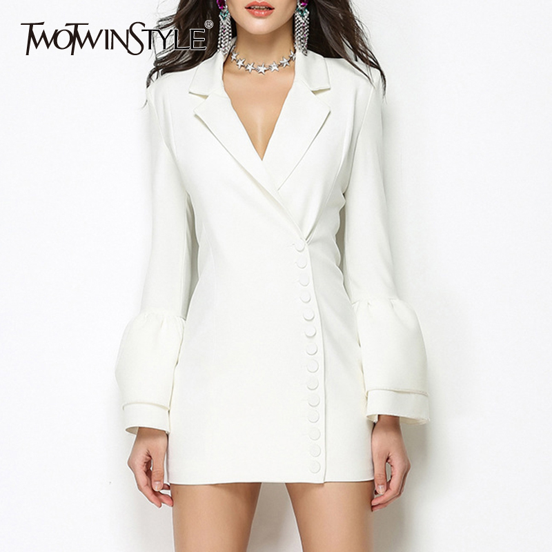 TWOTWINSTYLE V Neck Blazer Dress Female Flare Sleeve Single Breasted Bodycon Irregular Mini Dresses 2019 Spring