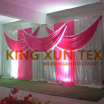 White & Fuchsia Ice Silk Wedding Backdrop Curtain With Swag Drapery Valance Sequin Backdrops Party Event Decoration