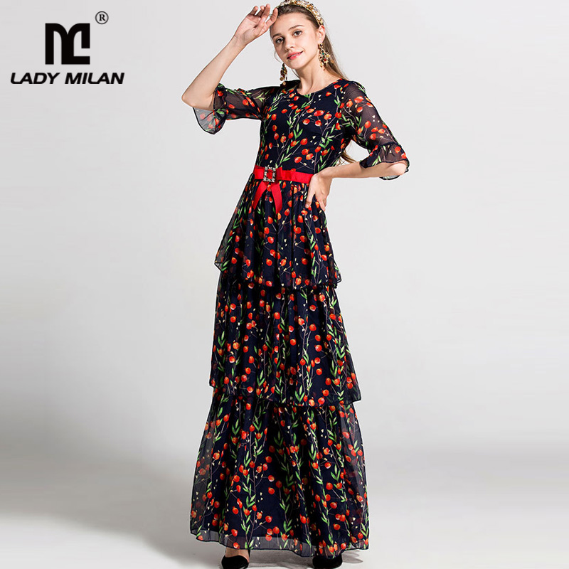 New Arrival 2018 Womens O Neck Half Sleeves Printed Tiered Ruffles High Street Fashion Long Casual Designer Dresses