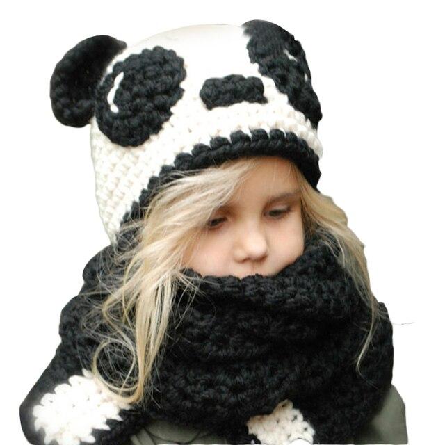 Visualizzza di più. Autunno Inverno Cappelli Del Bambino Caldo Maglia  Berretti Panda Del Fumetto Sciarpa Set Berretto Neonato Scaldino 60175ac7bc24