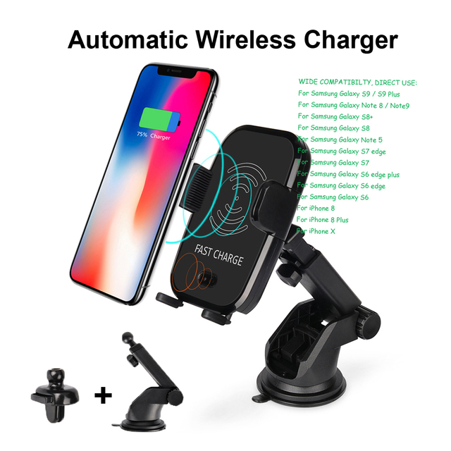 new style c1cfe 9dea8 US $51.98 |10W Qi Wireless Charger Automatic Fast Charger Car Mount Air  Vent Holder Wireless Quick Charge For iPhone X 8 Plus S8 S9 Note8 -in Car  ...
