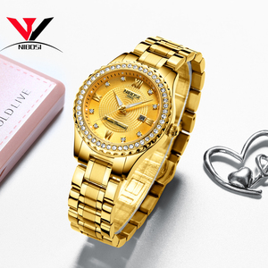 Image 4 - NIBOSI זהב שעון נשים 2019 יוקרה מותג נשים שעונים עמיד למים אופנה שמלת יהלומי קוורץ מותג ליידי יד שעונים Saat