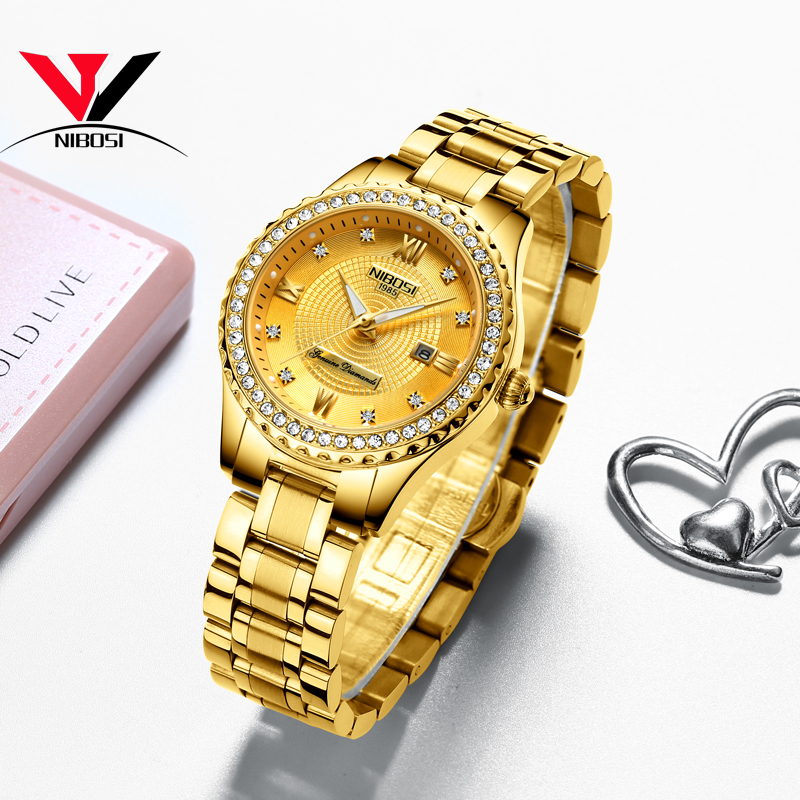 Image 4 - NIBOSI Gold Watch Women 2019 Luxury Brand Women Watches Waterproof Fashion Dress Diamond Quartz Brand Lady Wrist Watches Saat   -in Women's Watches from Watches