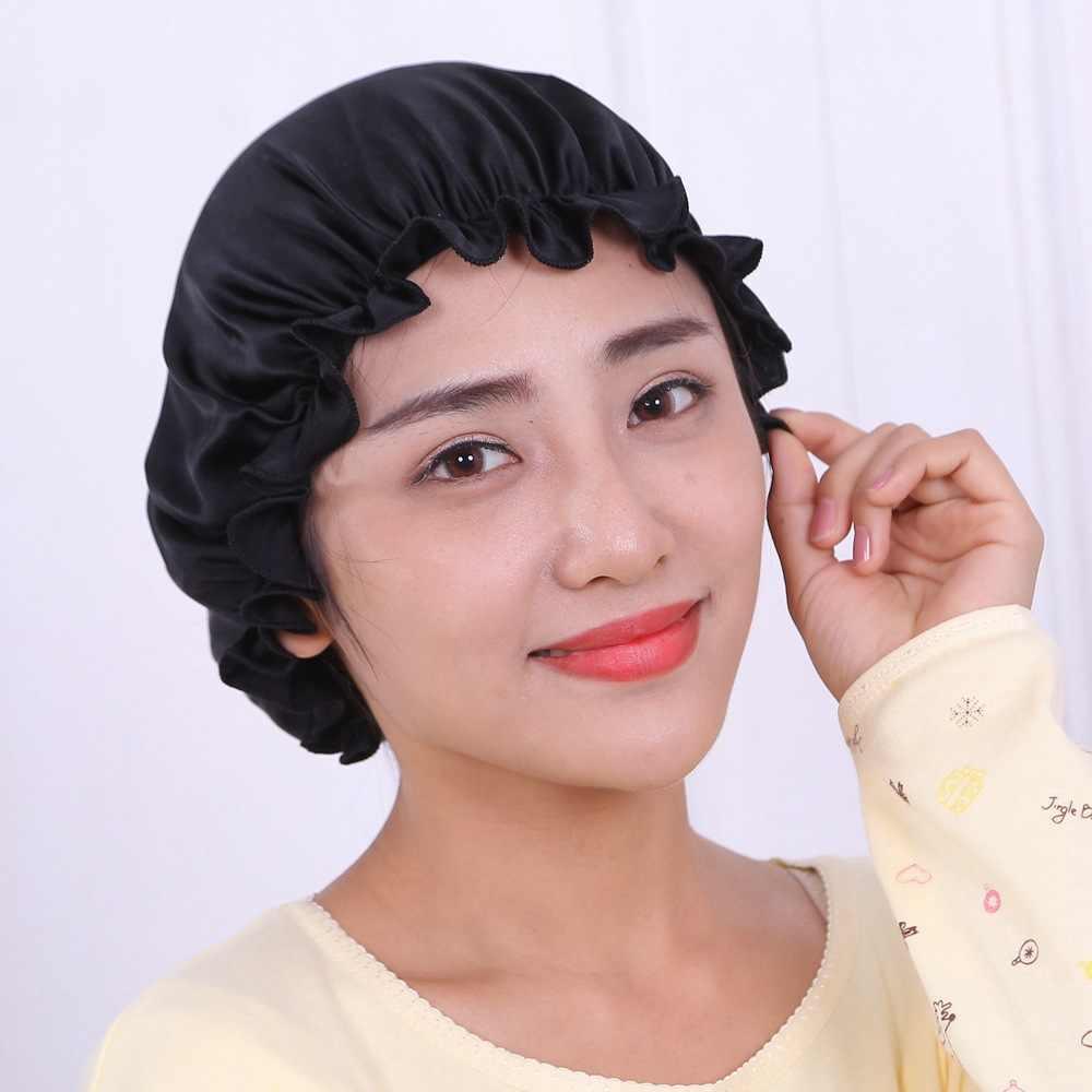 Женские шапочки для сна из чистого шелка, ночная накидка для ухода за волосами, Атласная шапочка для сна, аксессуары для волос