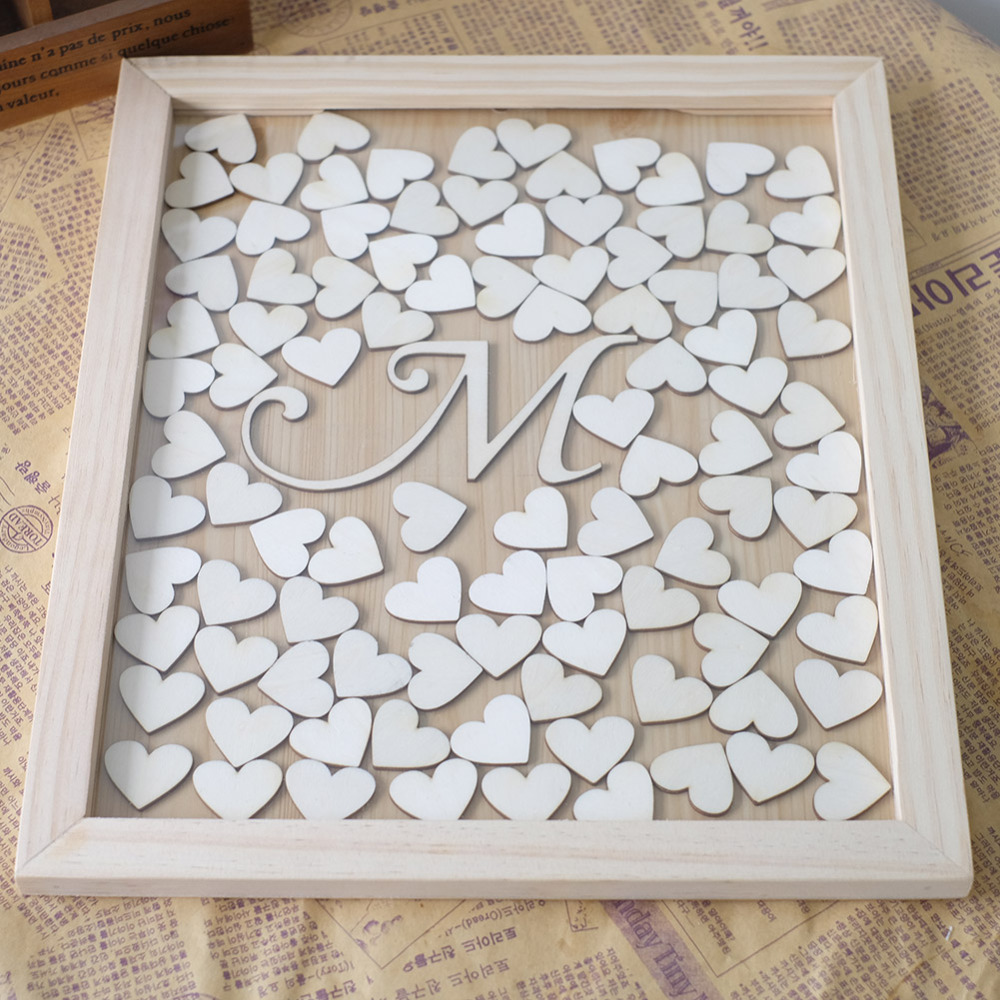Personalized Wedding Guest Book Frame With Letter Alternative Drop Box Wooen Heart Guestbook For Signature Rustic Decor In Books