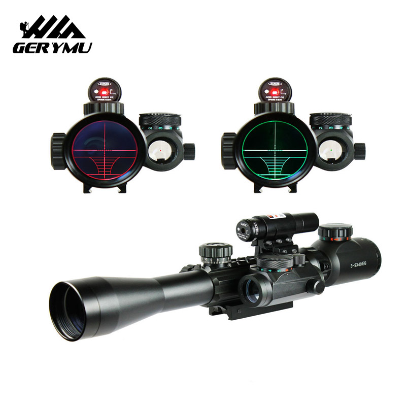 Tactical Scope Hunting Optics Riflescope 3-9X40 Illuminated Red Laser Riflescope with Holographic Dot  Combo Gun Weapon Sight hunting riflescope tactical 3 5x30 rgb laser sight dot red tri illuminated combo compact scope fiber optics green sight