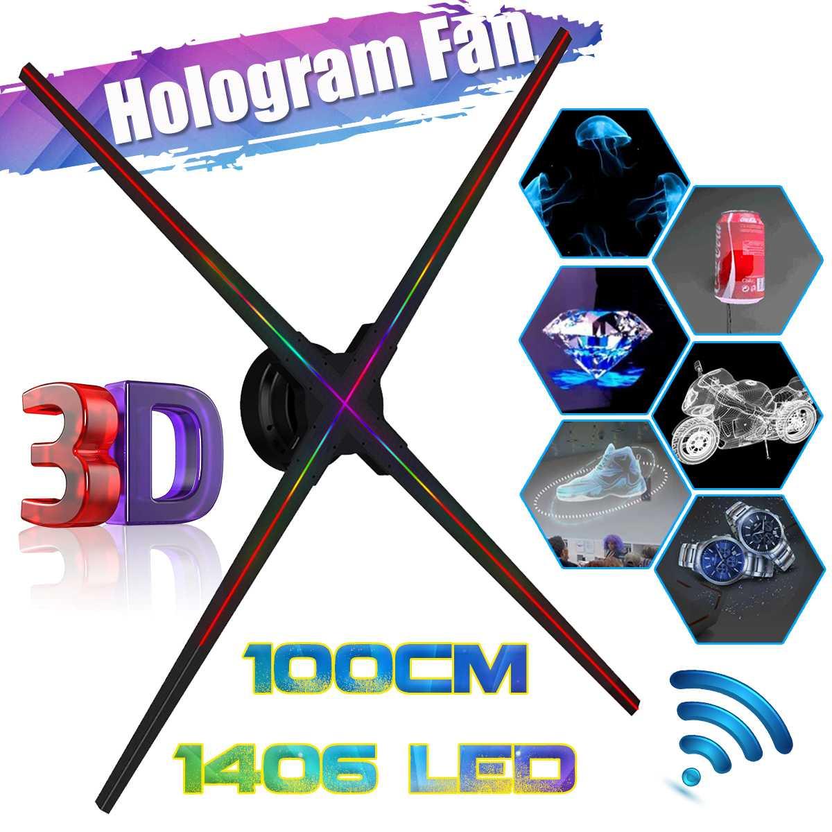 Mis à niveau 100 CM Wifi 3D holographique projecteur hologramme lecteur LED affichage ventilateur publicité lumière APP contrôle pour magasin de vacances