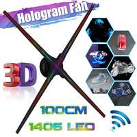 Upgraded 100CM Wifi 3D Holographic Projector Hologram Player LED Display Fan Advertising Light APP Control for holiday shop