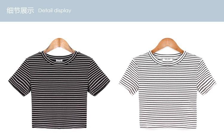 6583be15cf32 Summer American Apparel Crop Top Striped Short Sleeve Midriff baring ...