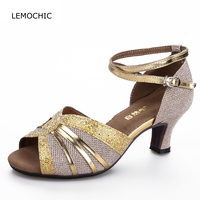 LEMOCHIC classical female models latin tango samba cha cha double stpes belly shoes good quality suitable for summer dance shoes