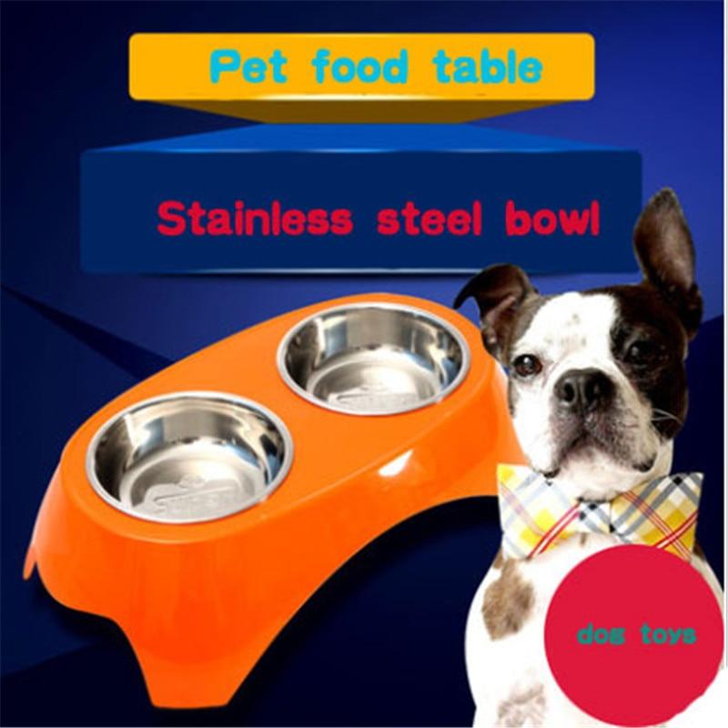 Alimentos Para Perros de agua Doble Tazón Multicolor Bebedouro Párrafo Mascotas Chien Gamelle Para Perros Productos Para Mascotas Comedero de Acero Inoxidable DDMZ99