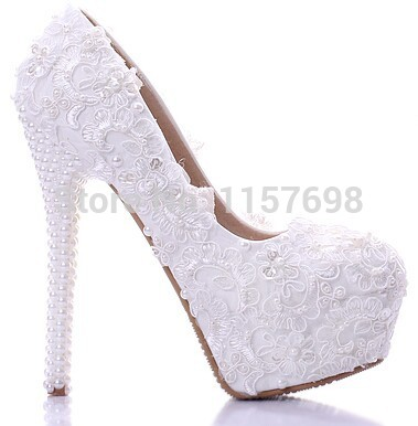 White Lace Pearl Wedding Shoes Ultra High Heels Platform Comfortable Formal Dress Round Toe Bridal