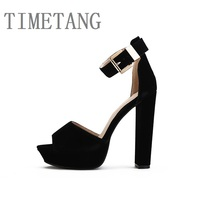 New Arrived High Quality Velvet Leather Liner Sexy Open Toe Ultra Thick High Heel Sandals 5