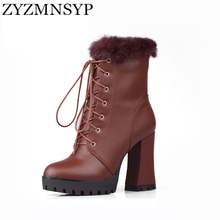 ZYZMNSYP Ladies Genuine leather Black brown fashion women round toe mid-calf  riding boots woman high heels winter lace up shoes