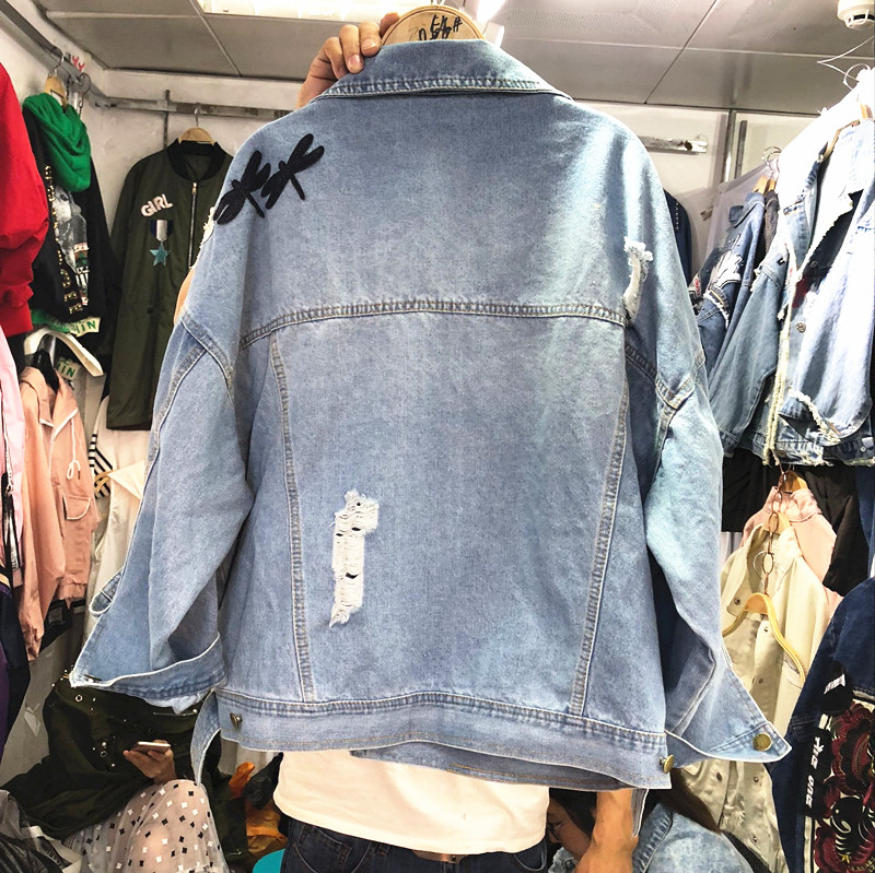 2018 New Autumn Women's Holes Jeans Jacket Female Casual Dragonfly Patch Loose Denim Coat All-match Long Sleeve Outwear 6