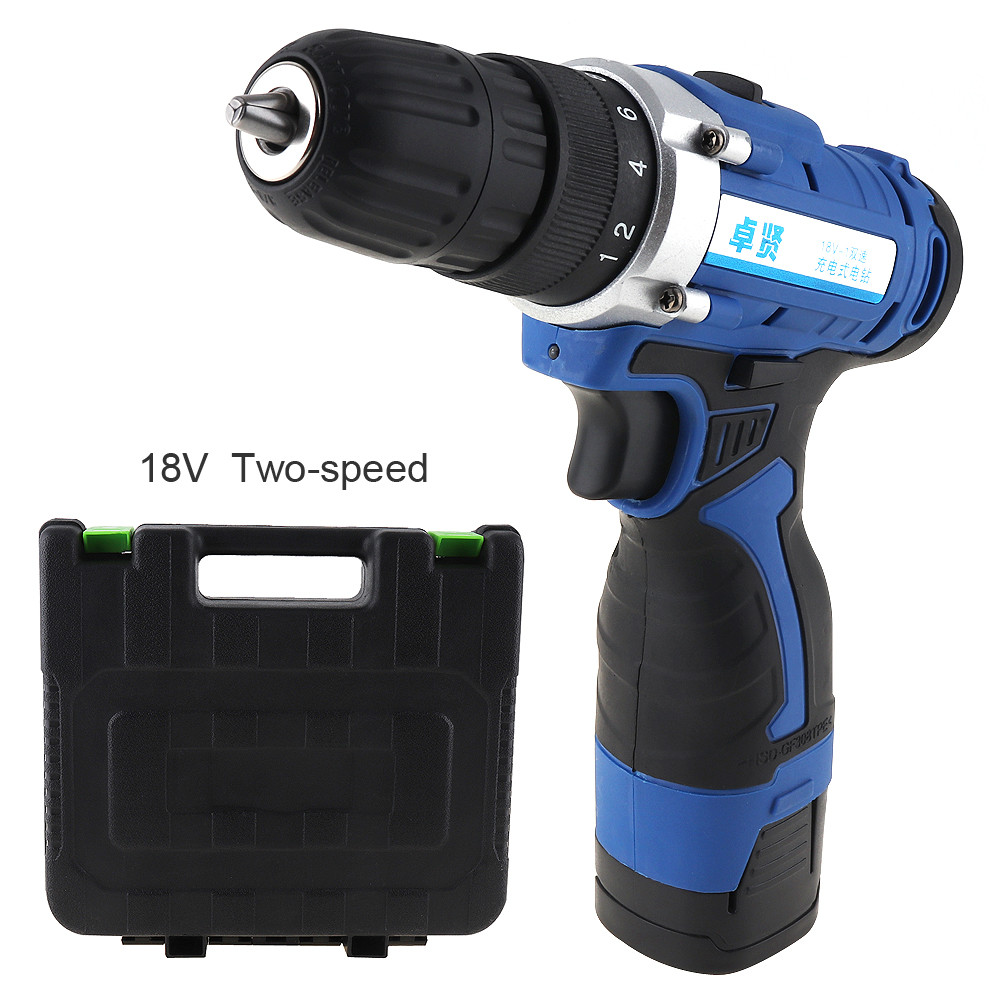 Cordless 18V Rechargeable Electric Drill Screwdriver Tool Box with Rotation Adjustment and Two speed for Handling