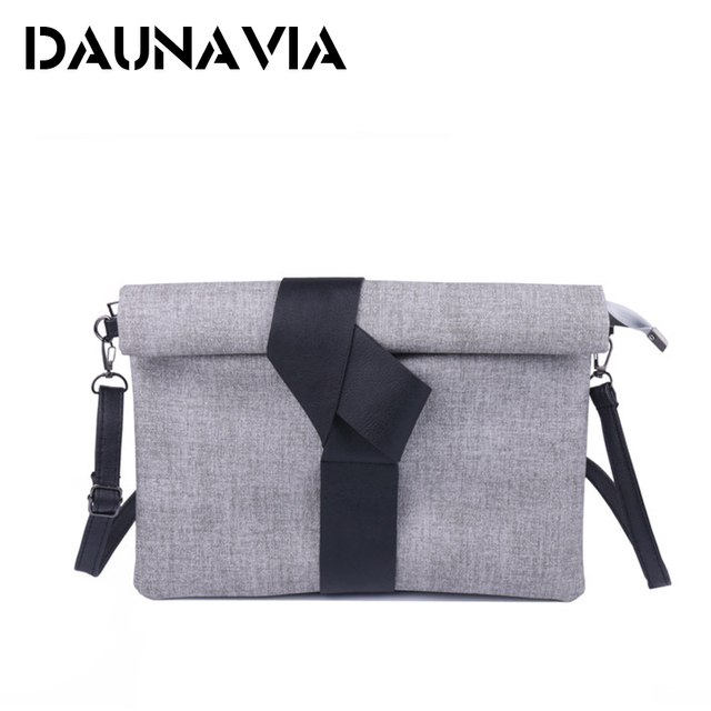 DAUNAVIA pu leather handbags small solid bow women evening clutch bags female envelope women shoulder messenger bags ND012