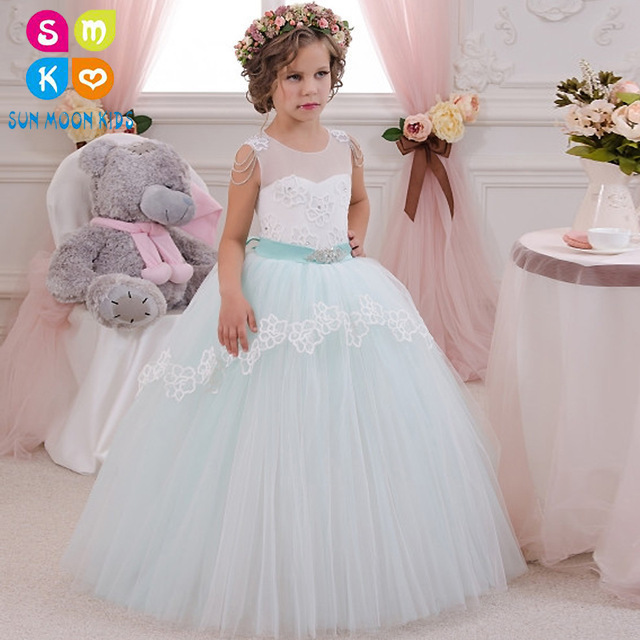 Elegant First Communion Dress Lace Sleeveless Ruffles Beading Mint Little Flower Girl Dress For Wedding Infant Tulle Ball Gowns elegant lace floral appliques flower girls dress cute mint green sleeveless pearls beaded kids pageant ball gowns for communion