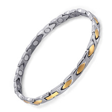 Women Fashion Bracelet & Bangle Magnetic Health Jewelry Silver Gold Color Titanium Hand Chain High Polished OTB-016 high polished 6 number spring chain bracelet