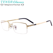 bdd9a46773 Los hombres de titanio puro gafas mitad Rim Rectangular grande gafas de  marco para lentes de prescripción miopía leyendo Multifo.
