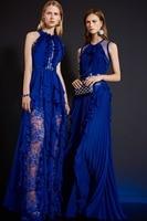 Высокое качество платье с бахромой 2018 весна/лето синий рукавом длинное платье Модные женские Элегантное платье пикантные праздничное плат