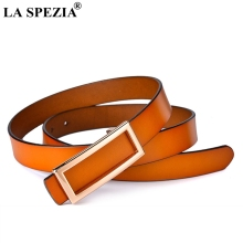 LA SPEZIA Leather Belt Women Camel Smooth Buckle For Dresses Ladies Genuine Cowhide Gold Female Fashion