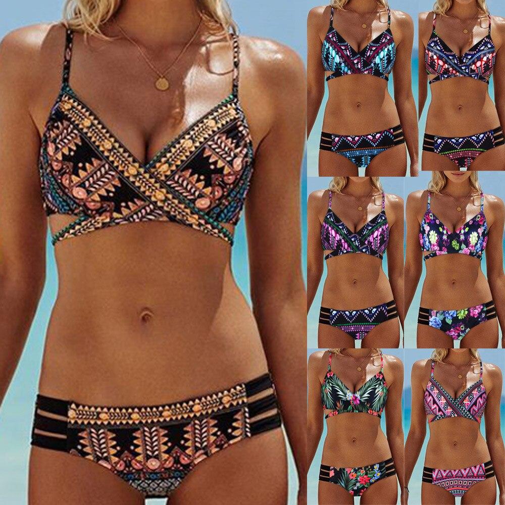 Bikini 2019 Women Bohemia Push-Up Padded Bra Beach Bikini Set Swimsuit Swimwear Swimwear High Waisted Sexy Bikini Dropshipping