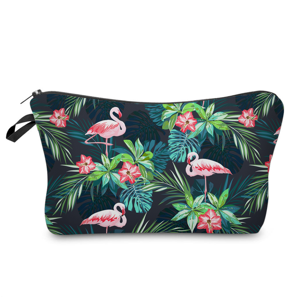 BBL 3D Print Cosmetic Bag Flamingo With Tropical Flowers Palm Green Fresh Fashion Portable Makeup Bag Travel Toiletry Organizer