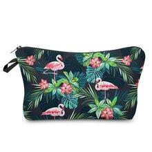 BBL 3D Print Cosmetic Bag Flamingo with Tropical Flowers Palm Green Fresh Fashion Portable