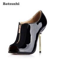 Batzuzhi Italian Style Fashion Designer Shoes Sexy 12 4cm Iron Thin Heels Black Leather Ankle Pump