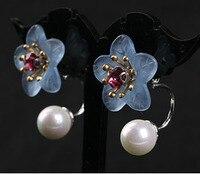 South Korea S925 Silver Earrings size personality flowers mother of Pearl Earrings Handmade