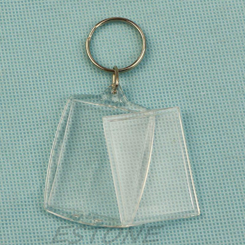 Empty Shell Keychain - Rectangular Curved Acrylic Plastic BLANK KEYRINGS Insert Photo Passport Key Rings Jewelry Accessories