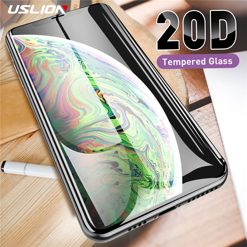 USLION 20D Screen Protector Tempered Glass On The For IPhone 11 Pro X XS Max XR 6 6S 8 7 Plus Full Curved Protective Glass Film