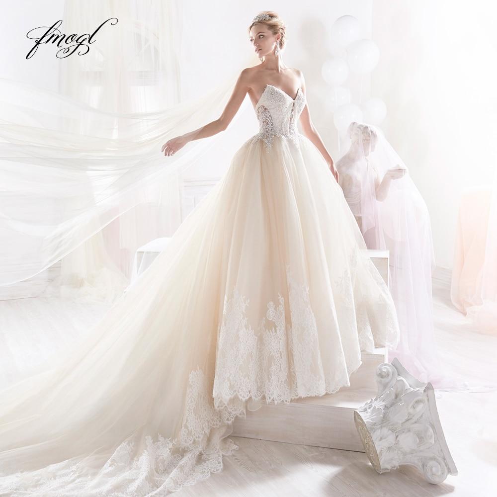 Fmogl Vestido De Noiva Sweetheart A Line Wedding Dress 2019 Sexy Backless Appliques Beaded Court Train