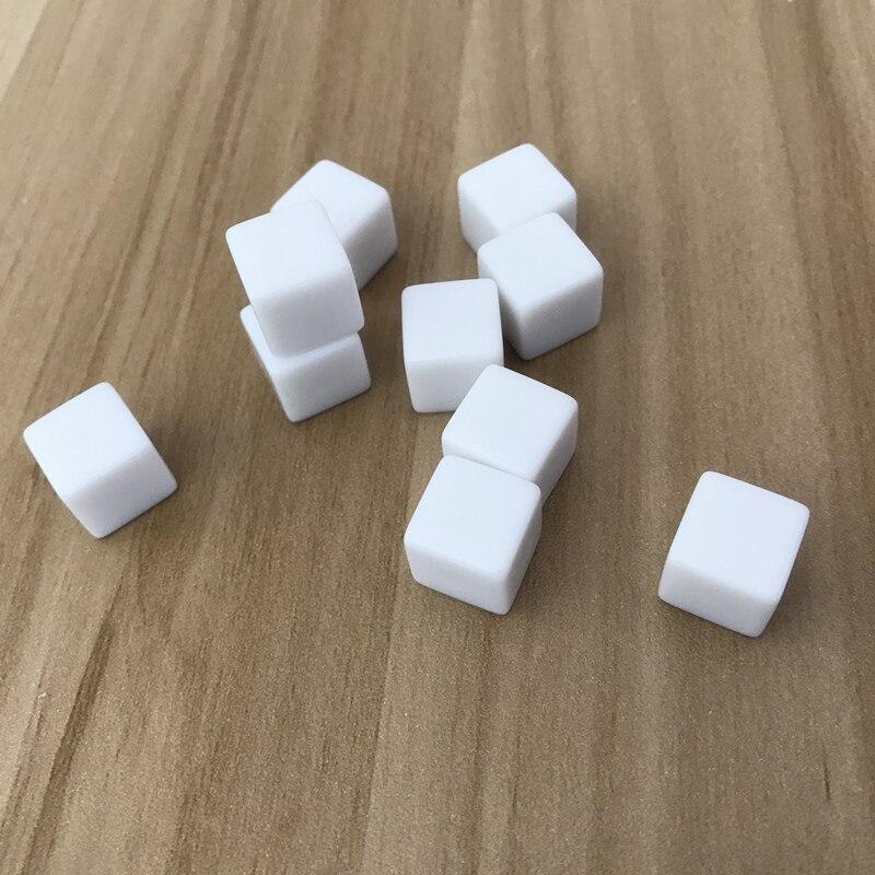 10 pçs/lote atacado 12mm dice branco em branco canto quadrado conjunto de dados pode escrever e escultura crianças instrumentos de ensino boardgame