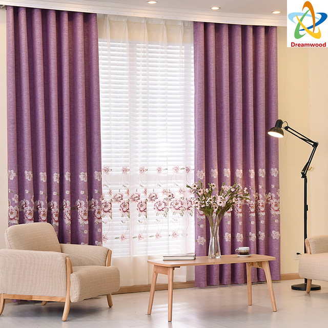 Dreamwood High quality linen luxury curtains European Purple ...