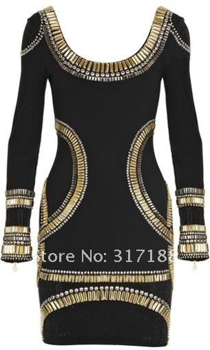 free shipping! elegant black with gold sequined trim long sleeve evening dress 2012, cocktail dress, HL bandage dress