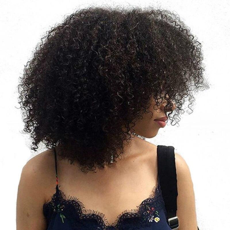 Монгольский афро кудрявый вьющиеся 360 Кружева Фронтальная парик предварительно сорвал с для волос 360 Кружева Закрытие салона волос, парики