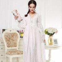 Autumn White Premium Luxury Embroidery Cotton Sexy French Court Princess Nightwear Long Sleeve Sexy Sleepwear V Neck Night Gown