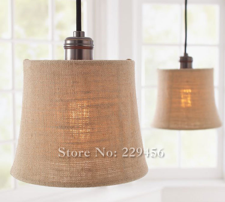 3 Lights Country Style Pendant Light Dinning Room Fabric