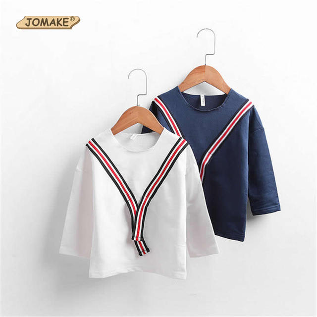 School Style Kids Costumes Children T-Shirts 2017 Spring Boys/Girls Striped 100%Cotton Tops Casual Children Clothes 2-7 Years