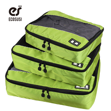 ECOSUSI Nylon Packing Cube Travel Bag System Durable 3 Piece Men's Travel Bags Weekender Set Bag Storage Bag Organizer