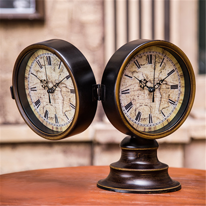 European Ancient 2 Sided Table Clocks Retro Desk Clock Home Decor Iron