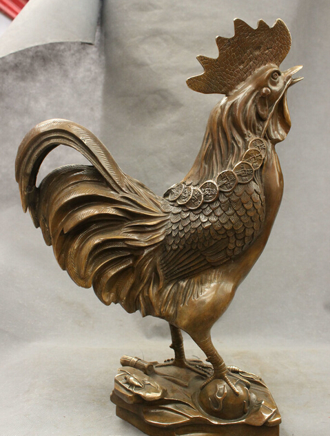 18 Chinese Bronze Copper Year Zodiac Wealth Coin Cock Rooster Up Head Statue statues garden decoration 18 Chinese Bronze Copper Year Zodiac Wealth Coin Cock Rooster Up Head Statue statues garden decoration