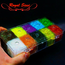 10Colors/Box Steelhead ICE DUB DUBBING DISPENSER Holographic Fiber Fly Tying Material for Nymph Wet Flies Dubbing Prism Ice Wing