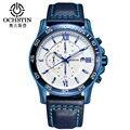 Ochstin marca sport reloj de los hombres de primeras marcas de lujo de cuero masculino impermeable cronógrafo de cuarzo militar reloj de pulsera hombres reloj saat