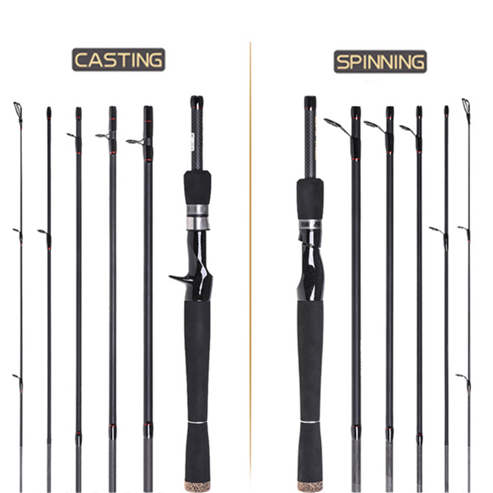 2 1m 2 4m Casting Lure Rod 6 Section Carbon Spinning Fishing Rod Travel Rod Casting