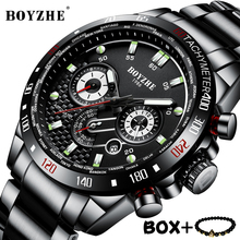 BOYZHE Luxury Brand Mechanical Watches 3D Dial Multifunction Sports Watch  Full Stainless steel Man Waterproof Wristwatch