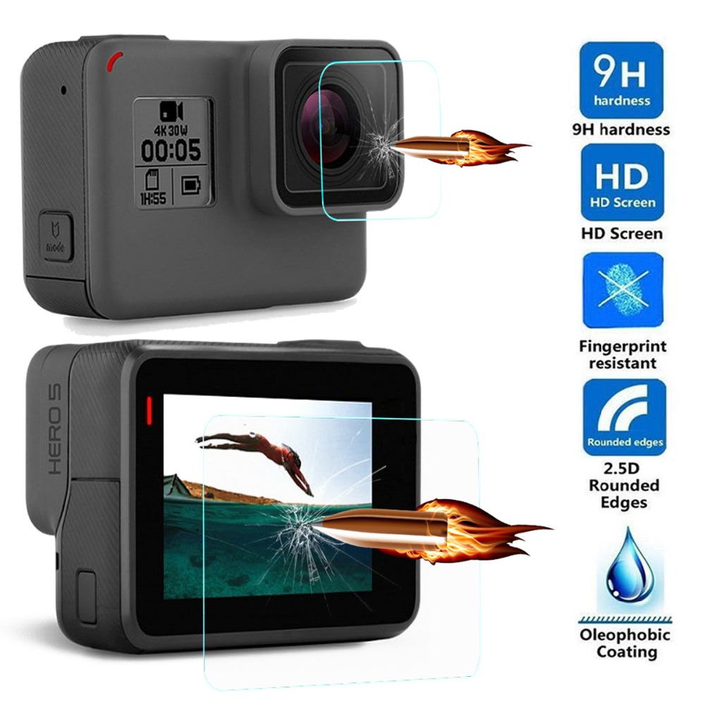 Tempered Glass For GoPro Hero5 Hero 5 4 Session Black font b Action b font Video